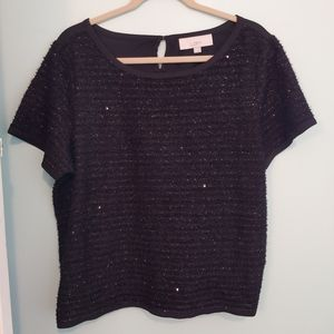 LOFT top, XL, black, sequence, short sleeve